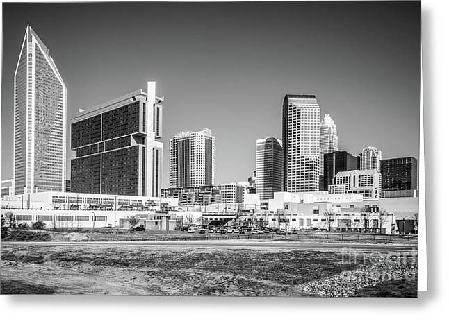 Charlotte Skyline Black And White Picture Greeting Card by Paul Velgos