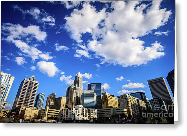 Charlotte Skyline Blue Sky And Clouds Greeting Card by Paul Velgos
