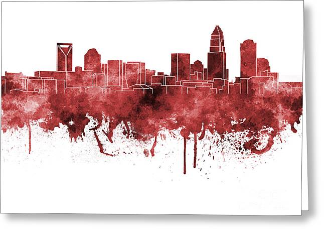 Charlotte Skyline In Red Watercolor On White Background Greeting Card by Pablo Romero