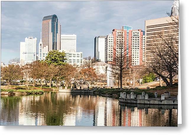 Charlotte Skyline Panorama At Marshall Park Pond Greeting Card