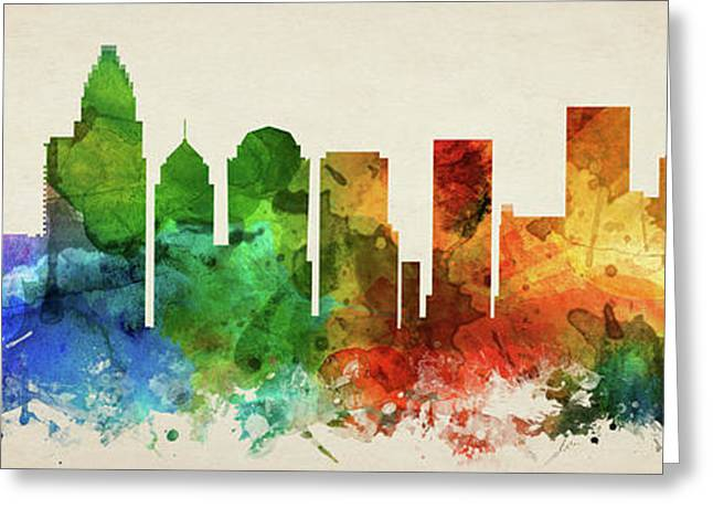 Charlotte Skyline Panorama Usncch-pa03 Greeting Card