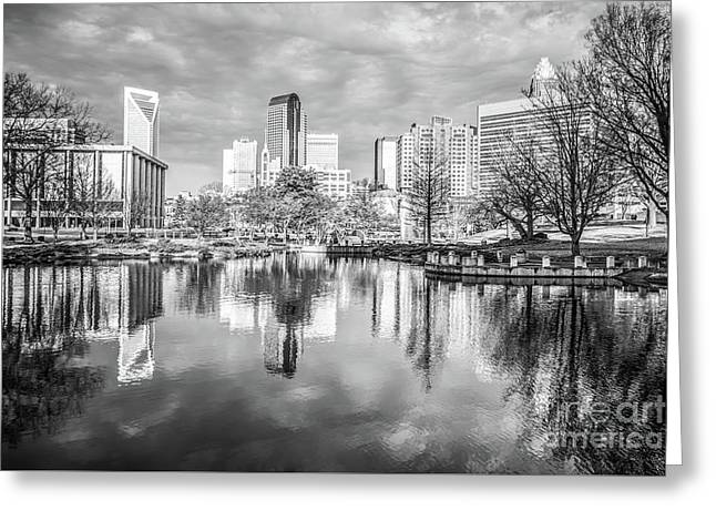 Charlotte Skyline Reflection Black And White Photo Greeting Card by Paul Velgos
