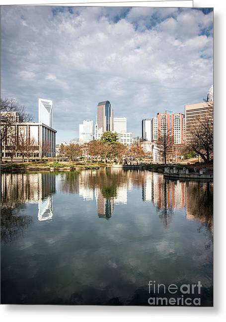 Charlotte Skyline Reflection On Marshall Park Pond Greeting Card