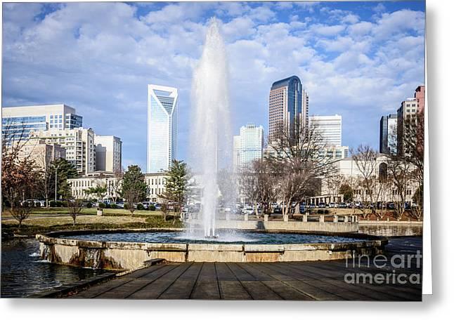 Charlotte Skyline With Marshall Park Fountain Greeting Card