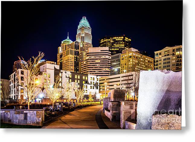 Charlotte Skyline With Romare Bearden Park At Night Greeting Card by Paul Velgos