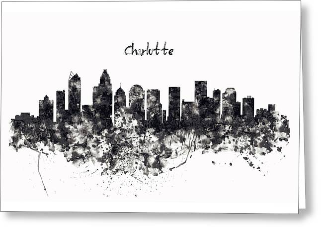 Charlotte Watercolor Skyline Black And White Greeting Card