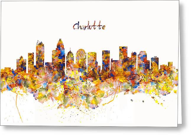 Charlotte Watercolor Skyline Greeting Card