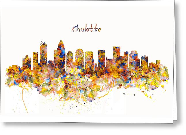 Charlotte Watercolor Skyline Greeting Card by Marian Voicu
