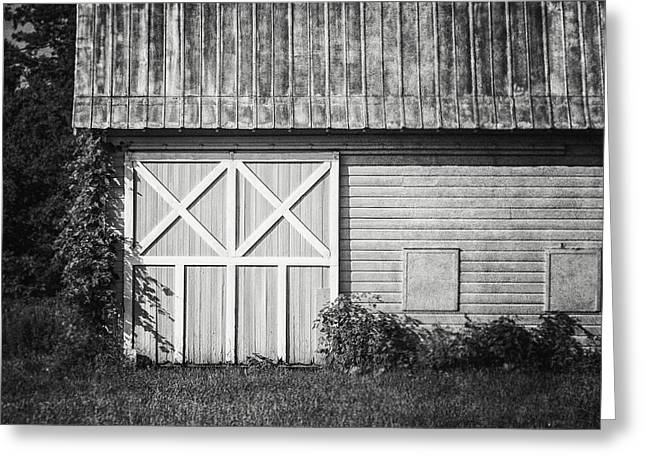 Charlton School Barn In Black And White Greeting Card by Lisa Russo