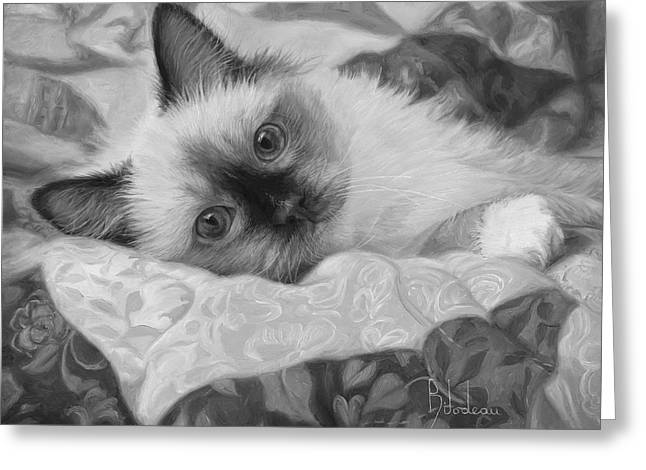 Charming - Black And White Greeting Card by Lucie Bilodeau