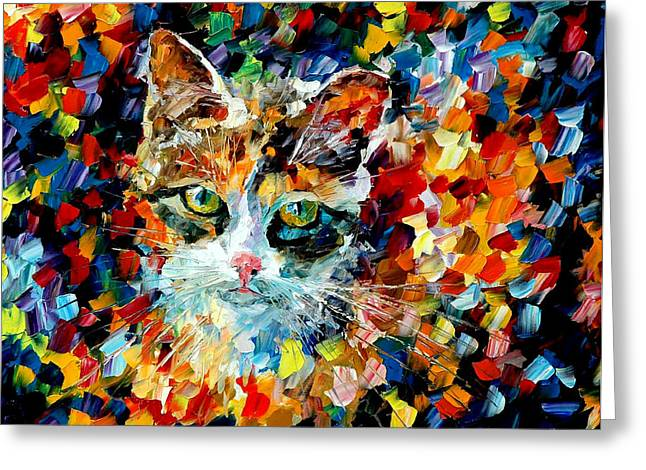 Charming Cat Greeting Card by Leonid Afremov