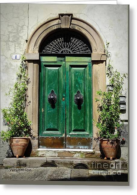 Charming Green Door In Lucca Greeting Card by Lainie Wrightson
