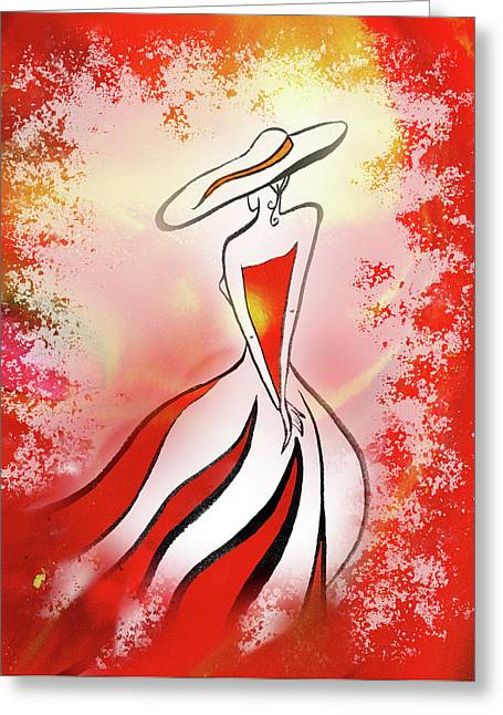 Charming Lady In Red Greeting Card by Irina Sztukowski