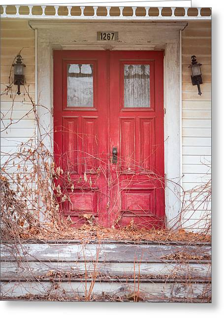 Greeting Card featuring the photograph Charming Old Red Doors Portrait by Gary Heller
