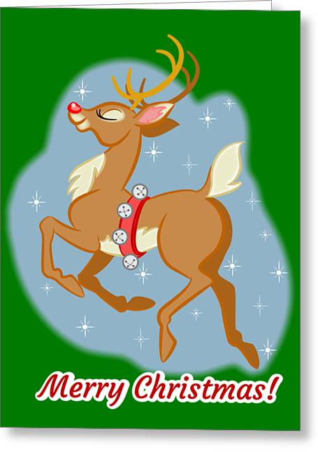 Greeting Card featuring the digital art Charming Retro Reindeer by J L Meadows