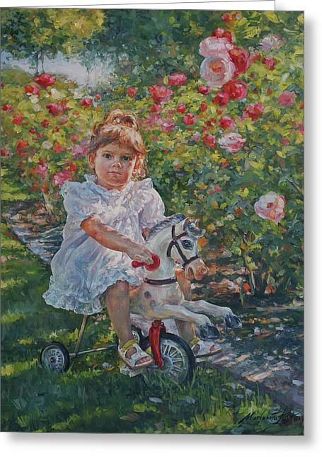 Charming Rider In Pink And Red Roses Greeting Card