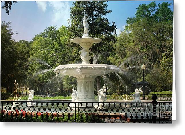 Charming Savannah Fountain Greeting Card by Carol Groenen