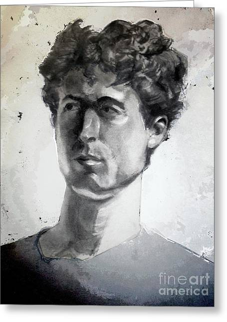 Charcoal Portrait Of A Curly Haired Man In The Shade Greeting Card by Greta Corens