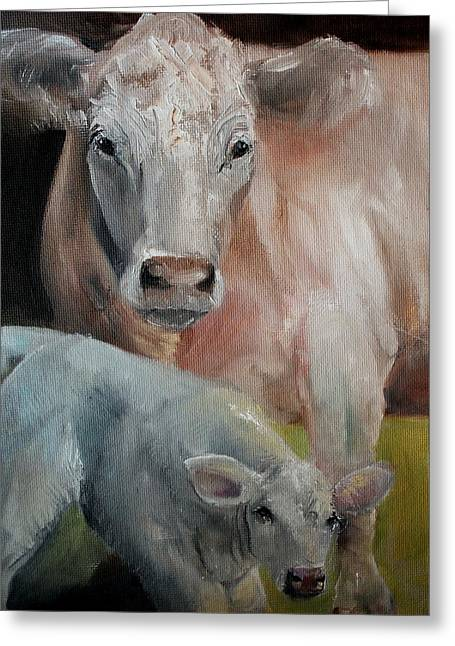 Charolais Cow Calf Painting Greeting Card by Michele Carter
