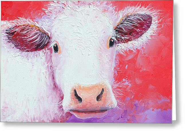 Charolais Cow Painting Greeting Card by Jan Matson