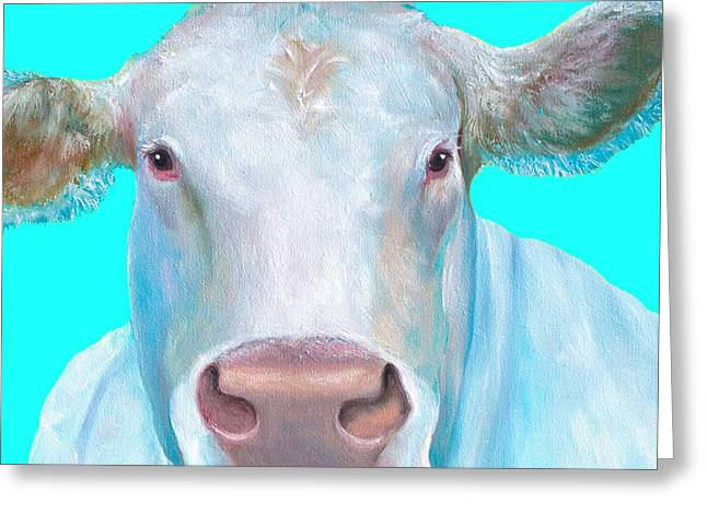 Charolais Cow Painting On Blue Background Greeting Card by Jan Matson