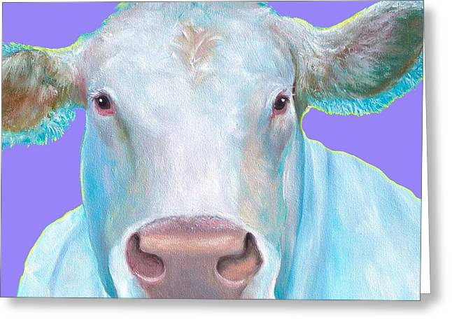 Charolais Cow Painting On Purple Background Greeting Card by Jan Matson