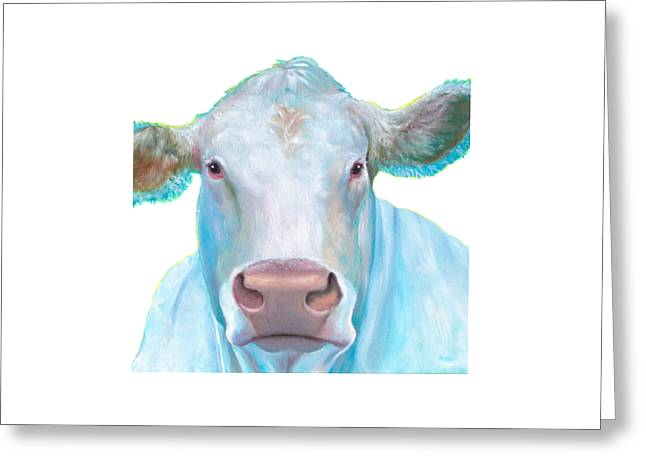 Charolais Cow Painting On White Background Greeting Card by Jan Matson