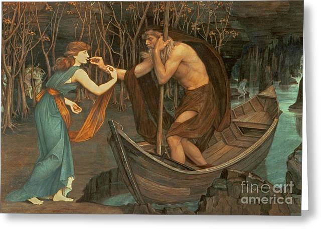 Charon And Psyche Greeting Card by John Roddam Spencer Stanhope