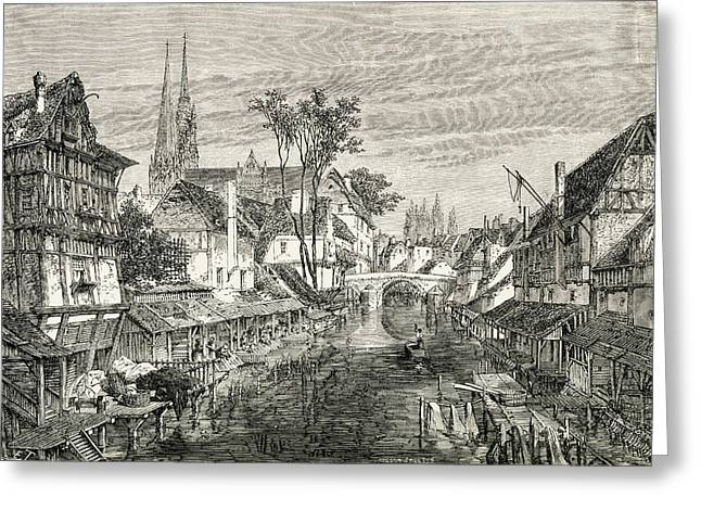 Chartres, France In The 19th Century Greeting Card by Vintage Design Pics