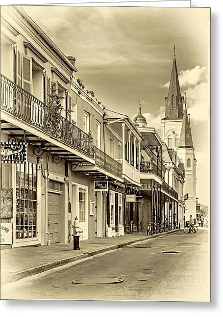 Chartres St In The French Quarter 2 - Sepia Greeting Card by Steve Harrington