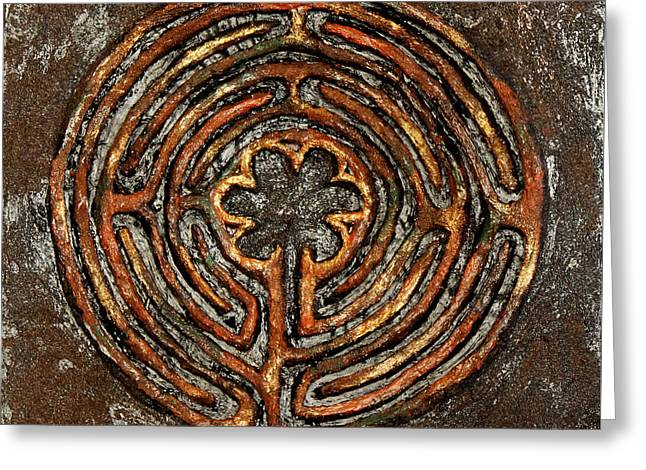 Chartres Style Labyrinth Earth Tones Greeting Card by Anne Cameron Cutri