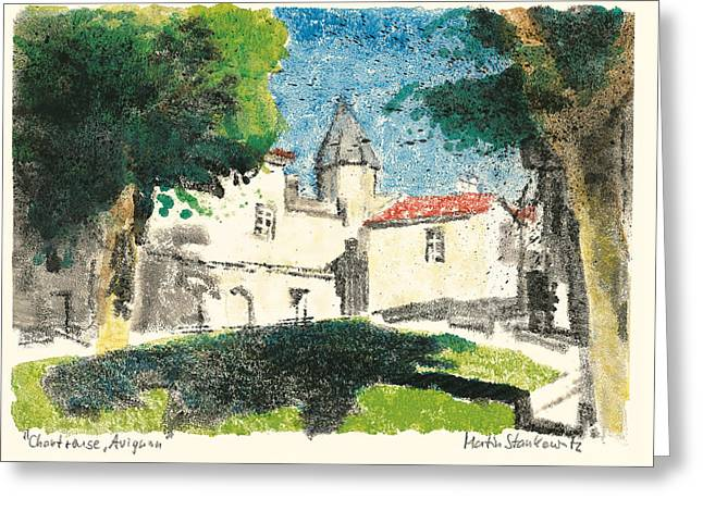 Greeting Card featuring the painting Chartreuse Avignon by Martin Stankewitz
