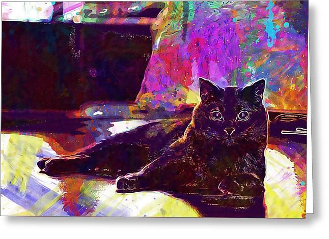 Greeting Card featuring the digital art Chartreux Cat Animals Pet Mieze  by PixBreak Art