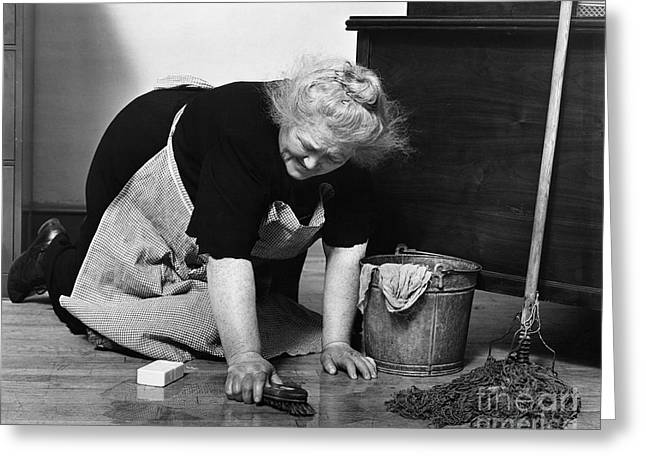 Charwoman Scrubbing Floor, C.1930s Greeting Card by H. Armstrong Roberts/ClassicStock