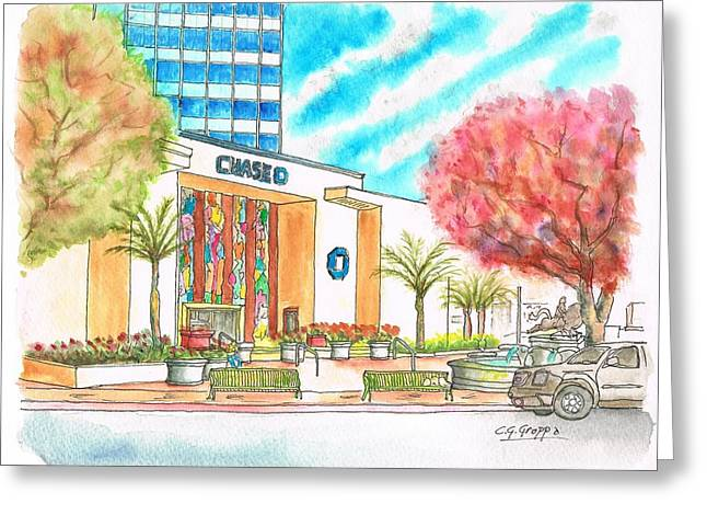 Chase Bank In Hollywood - California Greeting Card by Carlos G Groppa