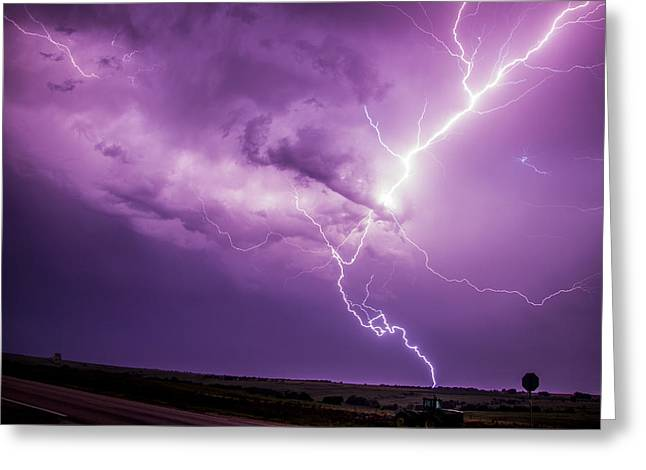 Greeting Card featuring the photograph Chasing Nebraska Lightning 018 by NebraskaSC