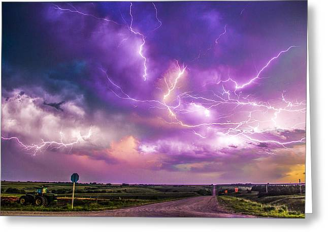 Chasing Nebraska Lightning 056 Greeting Card