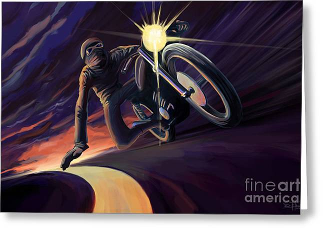 Chasing The Line Speed Racer Greeting Card
