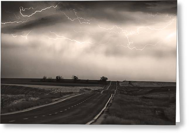 Lightning Strike Greeting Cards - Chasing The Storm - County Rd 95 and Highway 52 - CO- Sepia Greeting Card by James BO  Insogna