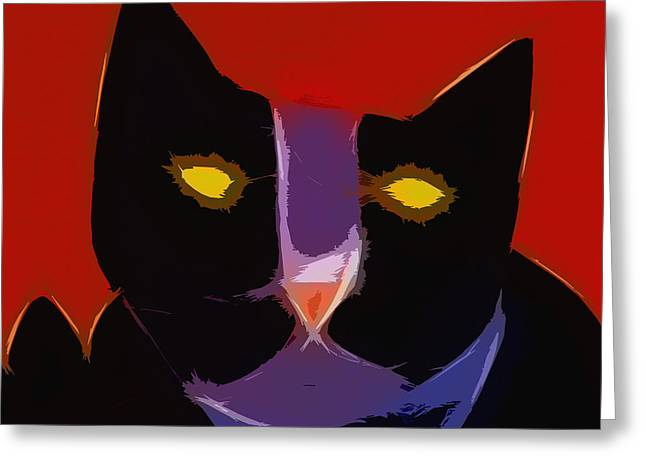 Chat Noir Greeting Card by Lutz Baar