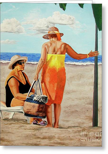 Chat On The Beach - Chat En La Playa Greeting Card