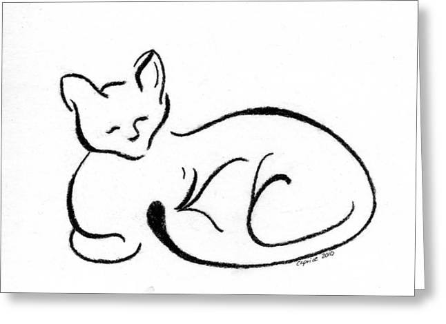 Chat Quatre Greeting Card by Caprice Scott