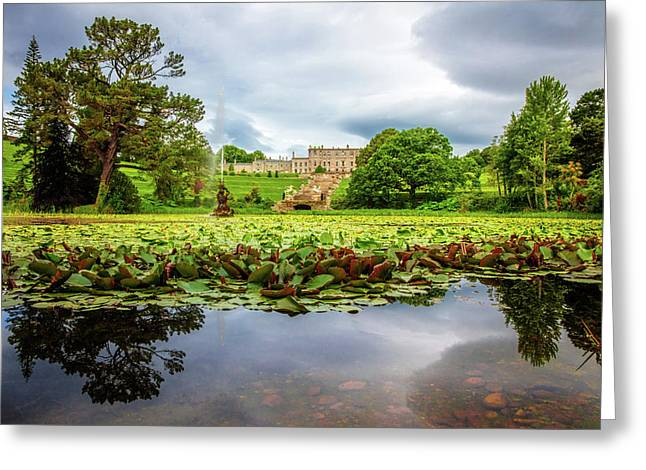 Chateau Across The Lake At Powerscourt Gardens Greeting Card