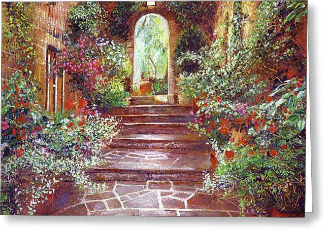 Chateau Courtyard Steps Greeting Card