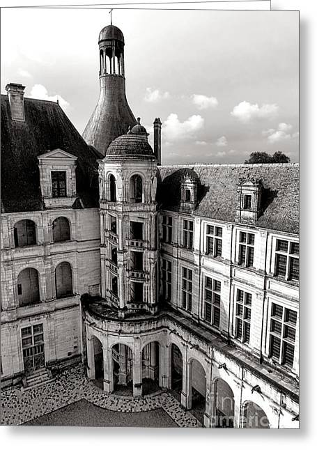 Chateau De Chambord Courtyard And Staircase  Greeting Card by Olivier Le Queinec