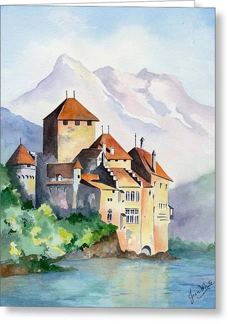 Chillon Greeting Cards - Chateau de Chillon in Switzerland Greeting Card by Jean White