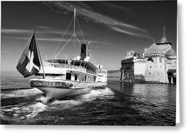 Chateau De Chillon, Steamboat Greeting Card by Jeremy Voisey