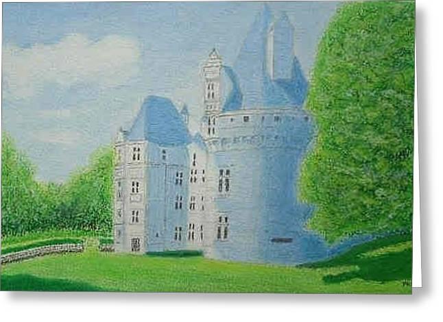 Chateau De Puyguilhem, Dordogne - Oil Pastel Greeting Card