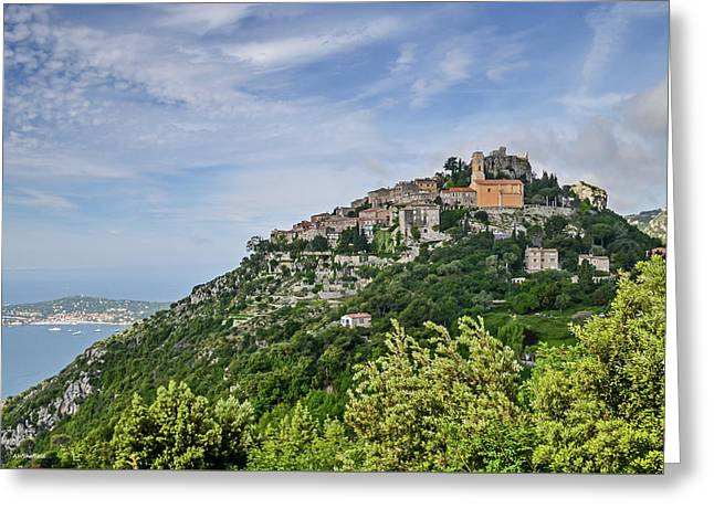 Chateau D'eze On The Road To Monaco Greeting Card by Allen Sheffield