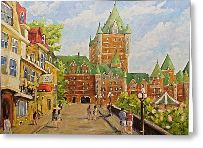 Chateau Frontenac Promenade Quebec City By Prankearts Greeting Card by Richard T Pranke
